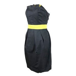 Dresses - Gray and Lime Strapless Dress